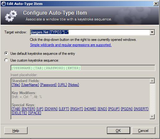 KeePass Configure Auto-Type
