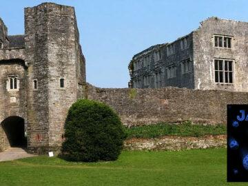 Panorama of front of Berry Pomeroy Castle, Devon, UK